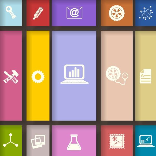 elemente fuer infografik auf farbigen quadraten
