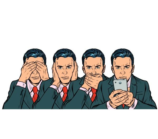 nicht sehen sagen aussehen smartphone kommunikationskonzept