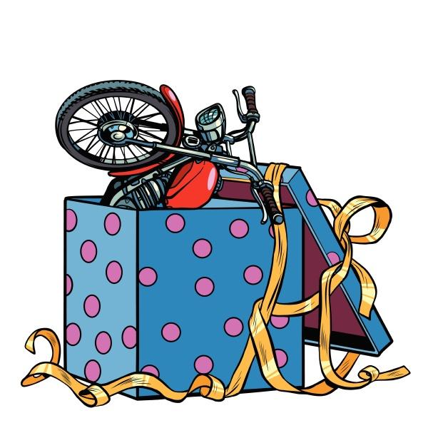 motorrad in einer geschenkbox