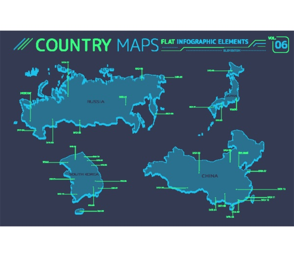 russland china japan und suedkorea vektorkarten