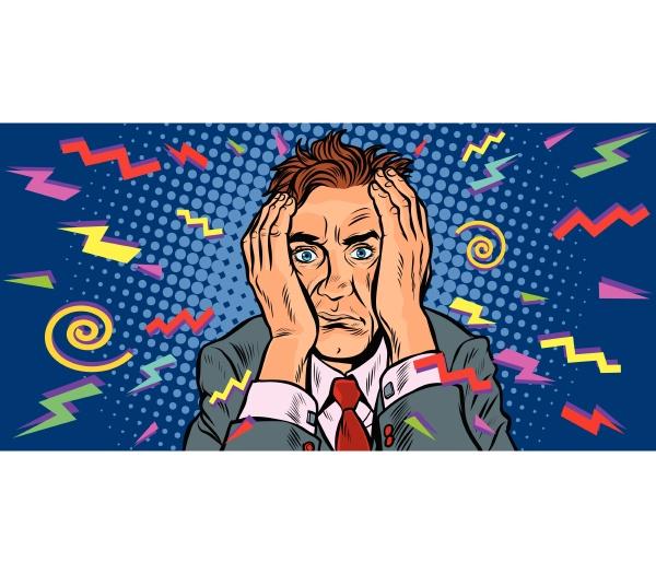 verrueckter mann mit kopfschmerzen