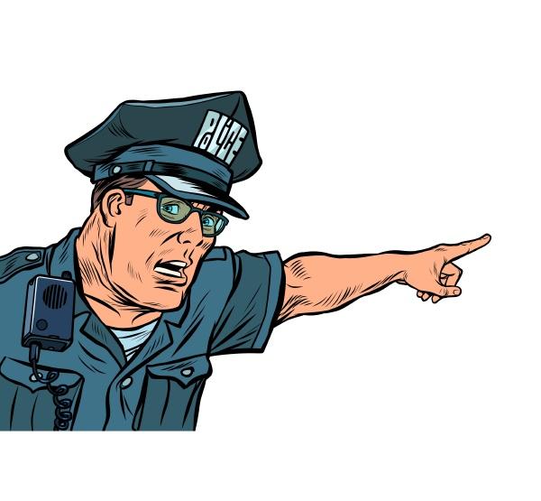 polizist polizist weist richtungen isolieren auf