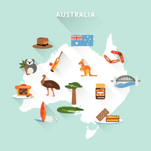 australien touristische karte konzept mit reise