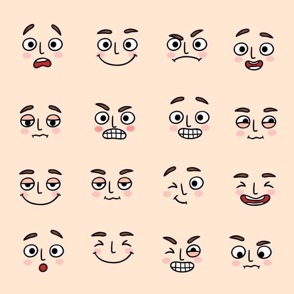 mimik stimmung ausdruck icons set von