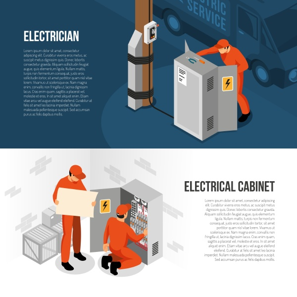 elektriker service 2 isometrische horizontale banner