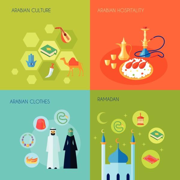 arabische kultur design konzept set mit