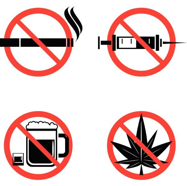 keine drogen ikonen mit gekreuzten spritze