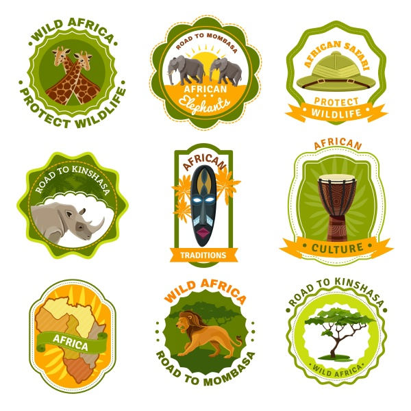 afrika embleme gesetzt mit reisen und