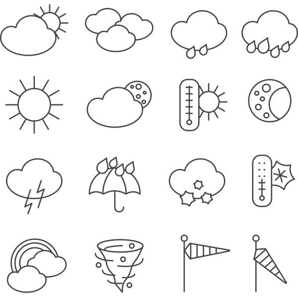 wettervorhersage symbole umrissen piktogramme mit regentropfen