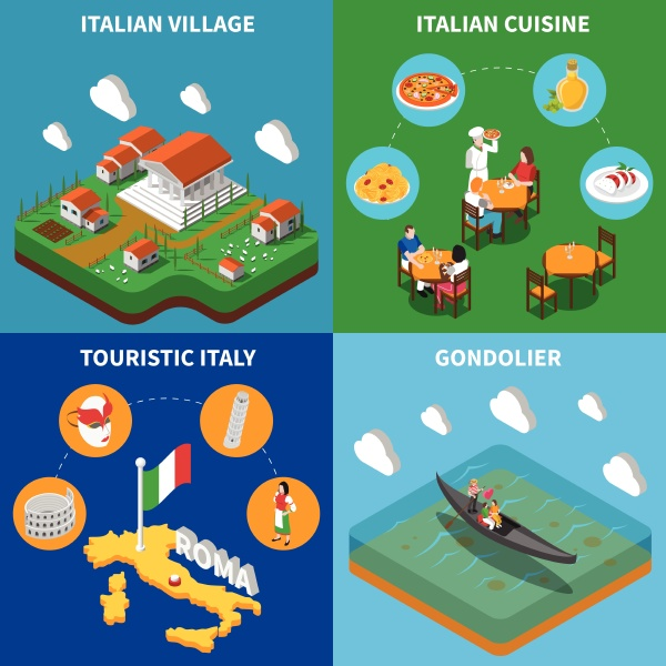 italienische top touristische attraktionen 4 isometrische