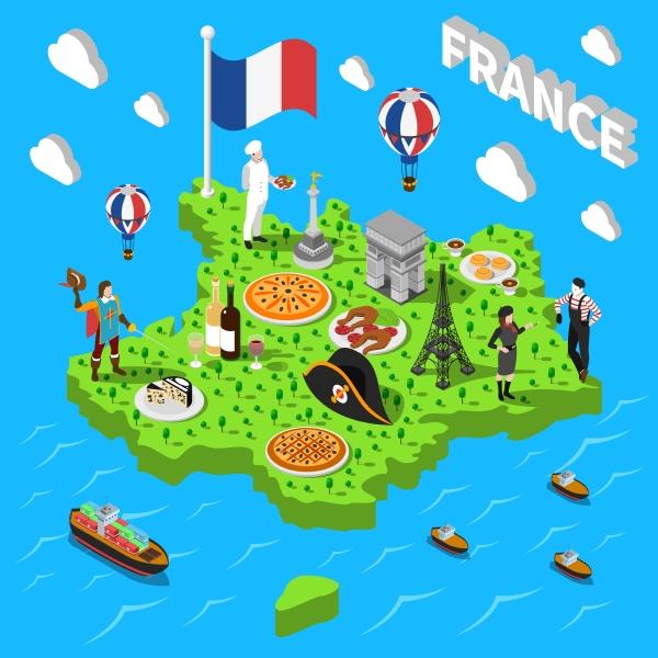 frankreich isometrische kulturelle sightseeing karte fuer