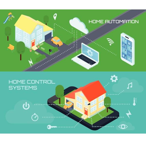 smart home automatisierungssteuerung 2 horizontale bunte