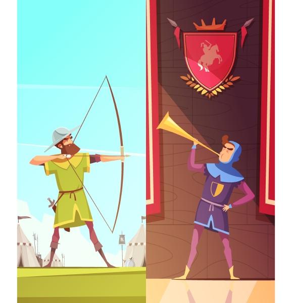 mittelalterliche vertikale cartoon banner mit horngeblaese