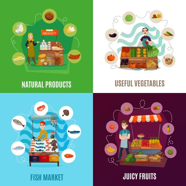 street food konzept symbole mit marktsymbolen