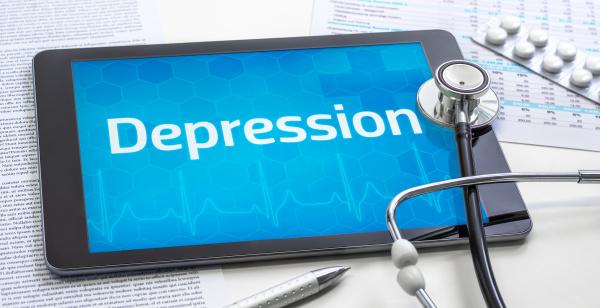 das wort depression auf dem display