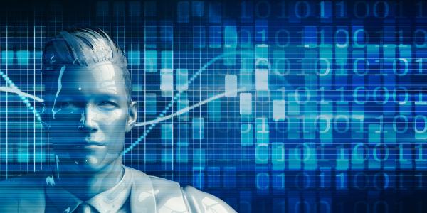 business man mit data analytics technologie