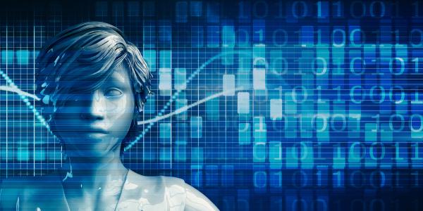 schwarze geschaeftsfrau mit data analytics technologie