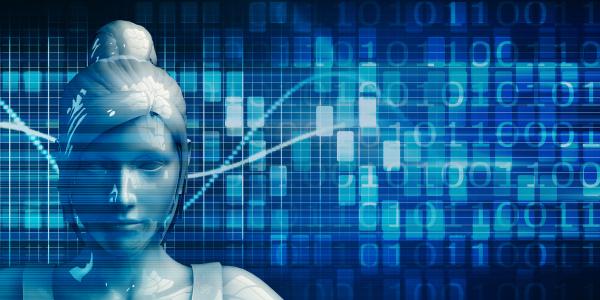 geschaeftsfrau mit data analytics technologie