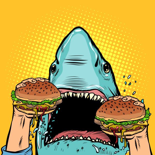 hungry, shark, eat, the, burger - 27349835