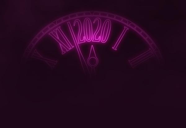 2020 neujahrskarte rosa neon futuristische uhr