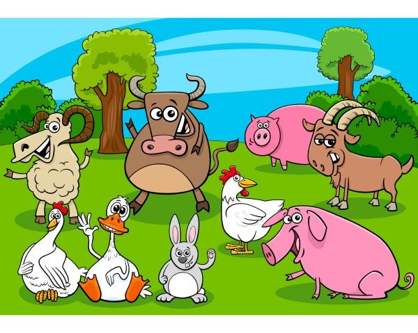 cartoon bauernhof tiere comic charaktere gruppe
