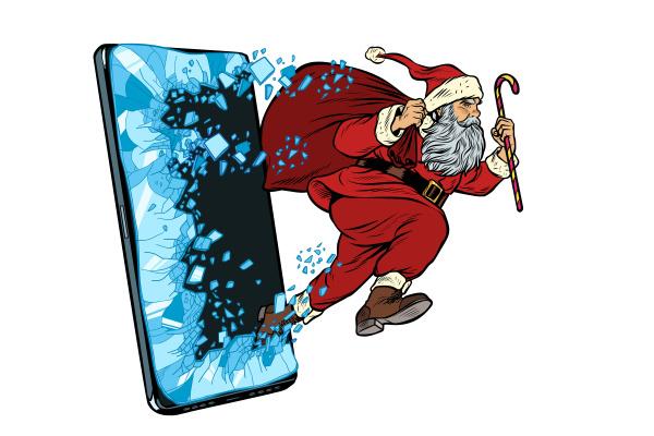 weihnachts online verkaufskonzept weihnachtsmann kommt aus