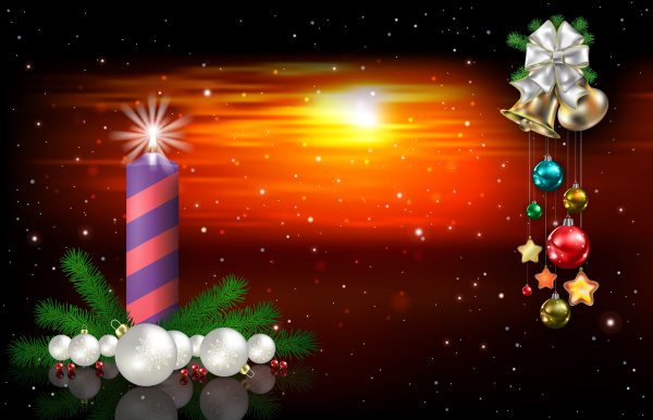 abstrakte rote sonnenuntergang hintergrund mit weihnachtsglocken