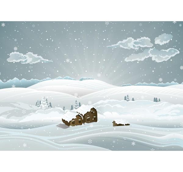 weihnachtswinterliche landschaft mit sonnenaufgang