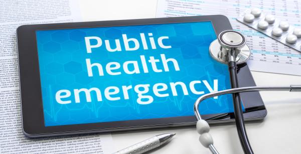 das wort public health emergency auf