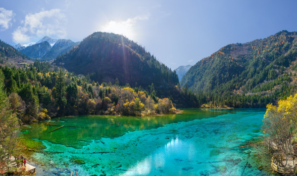 luftaufnahme des nationalparks jiuzhaigou china