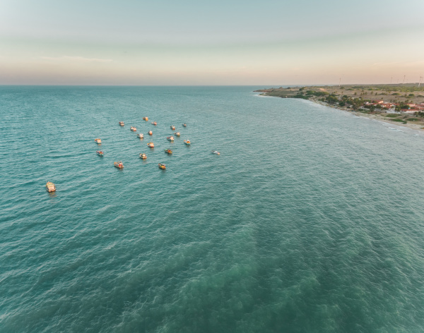 luftaufnahme traditioneller fischerboote in der bucht