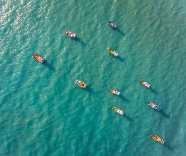 luftaufnahme traditioneller fischerboote die im meer