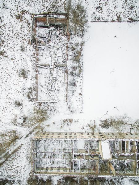 luftaufnahme eines verlassenen industriegebiets