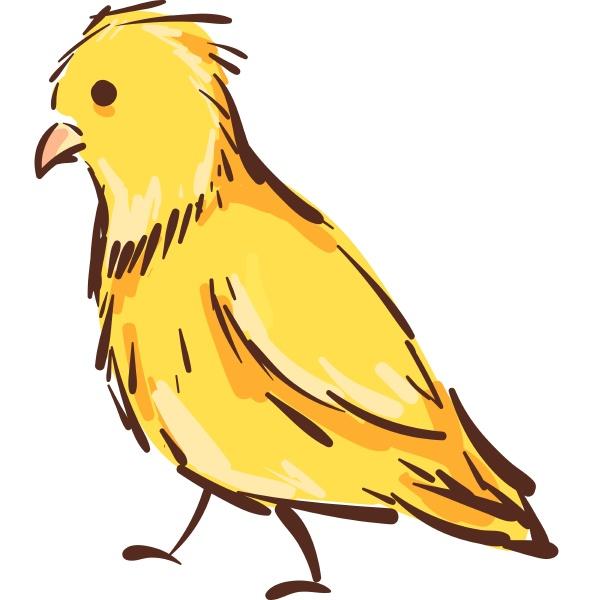 vektor illustration eines gelben kanarienvogels auf