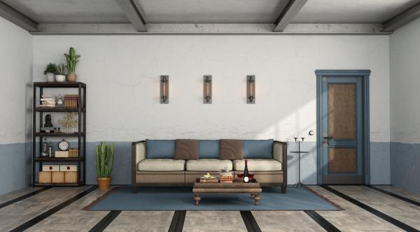 retro wohnzimmer mit altem sofa und