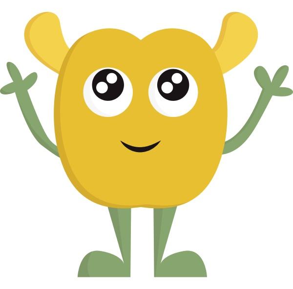 ein gelbes baby alien vektor oder