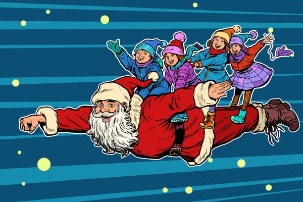 superheld santa claus mit kindern weihnachten