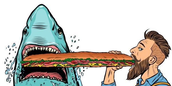 hai und mann essen fast food