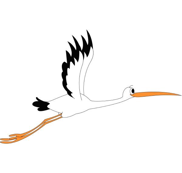 clipart eines stockvogels bei flugvektor oder