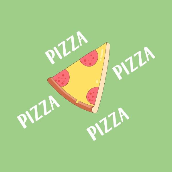 portraet von pizza ueber gruenem hintergrundvektor