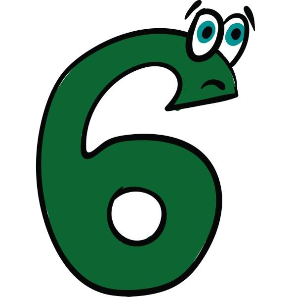 emoji der traurigen gruenen zahl sechs