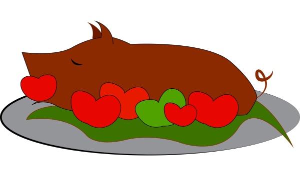 ein geroestetes schwein vektor oder farbe