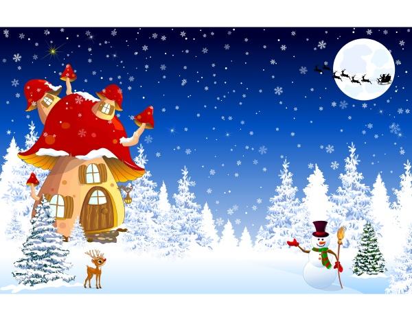pilzhaus schneebaeume nacht weihnachten