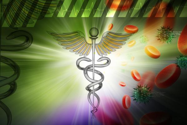 medizinisches symbol mit blutzellen und virus