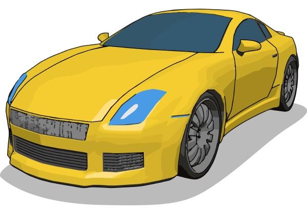 gelbe, s-auto, illustration, vektor, auf, weißem, hintergrund. - 27526357