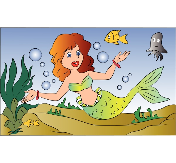 vektor der meerjungfrau schwimmen unter wasser