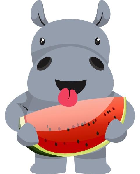 hippo mit wassermelone illustration vektor auf