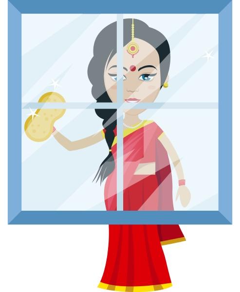 indische frau reinigung fenster illustration vektor
