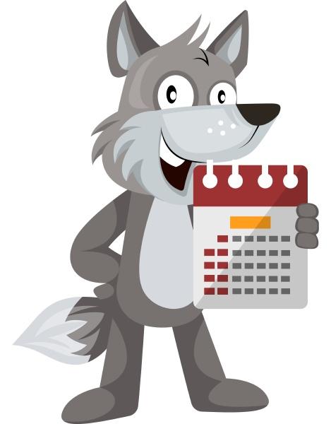 wolf mit kalender illustration vektor auf