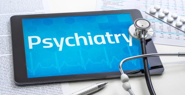 das wort psychiatrie auf dem display
